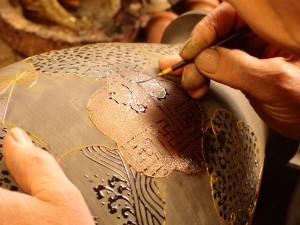 伝統技法 : 漆 津軽塗 錦塗